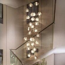 Современные светодиодные подвесные светильники, Хрустальные подвесные лампы, составные холлы, лестничные длинные подвесные светильники для гостиной, лестницы