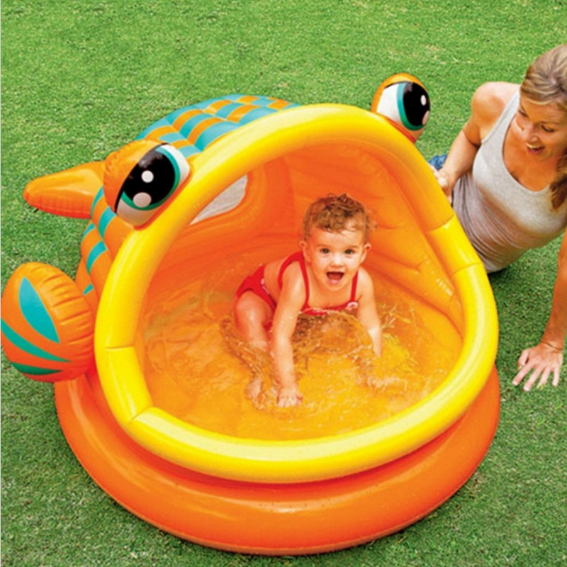 124*109*70cm fish mouth round sun wading pool inflatable swimming pool, Lovely Fish Type Inflatable Baby Swimming Water Pool