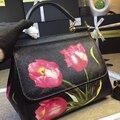Новый цветной печати моды кожаная сумка из телячьей кожи тюльпан Сумка