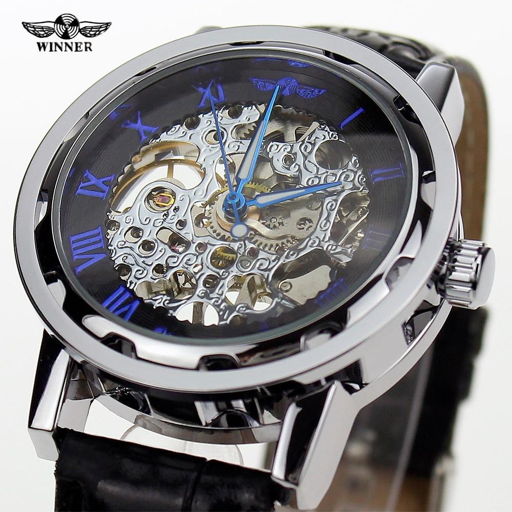 98402da4b34f 2016 cuerda manual mecánico del mens esquelético romano internacional  barato reloj de cuero WINNER Marca reloj mecánico manual de