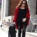 Batwing manga de punto de algodón suéter de mujer Otoño invierno de punto de moda caliente jumper suéter chal chaqueta de punto suéteres de gran tamaño