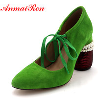 Anmairon New Spring High Heels Pumps Women Shoes Pointed Toe Pearl Beading Ladies Pumps Green Black