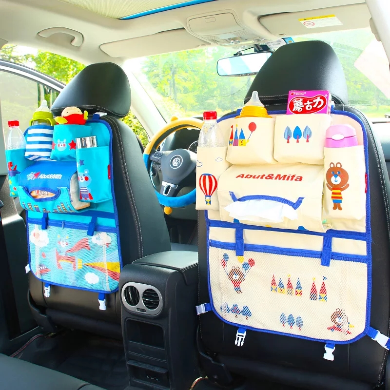 Cartoon Cute Car Back Seat Storage Organizer Hang Bag Stowing Tidying Baby Kids Sundry Specially Automobile Interior Accessories