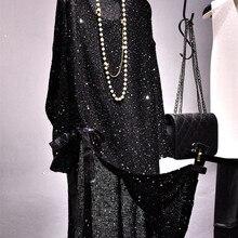 Cakucool, женское платье с длинным рукавом, расшитое блестками, вязаное, с Боковым Разрезом, Vestido, с круглым вырезом, с вырезами, шикарное, свободное, повседневное, милое, мини-платье черного цвета