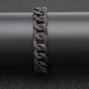 Image 3 - Hip hop aaa zircão pavimentado bling iced para fora cz pulseiras cor de prata preto cubano miami link corrente charme jóias transporte da gota