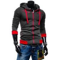 2018 Fashion Men Fleece Hoodies Color Patchwork Zipper Sweatshirt Spring Autumn Casual Mens Long Sleeve Jackets