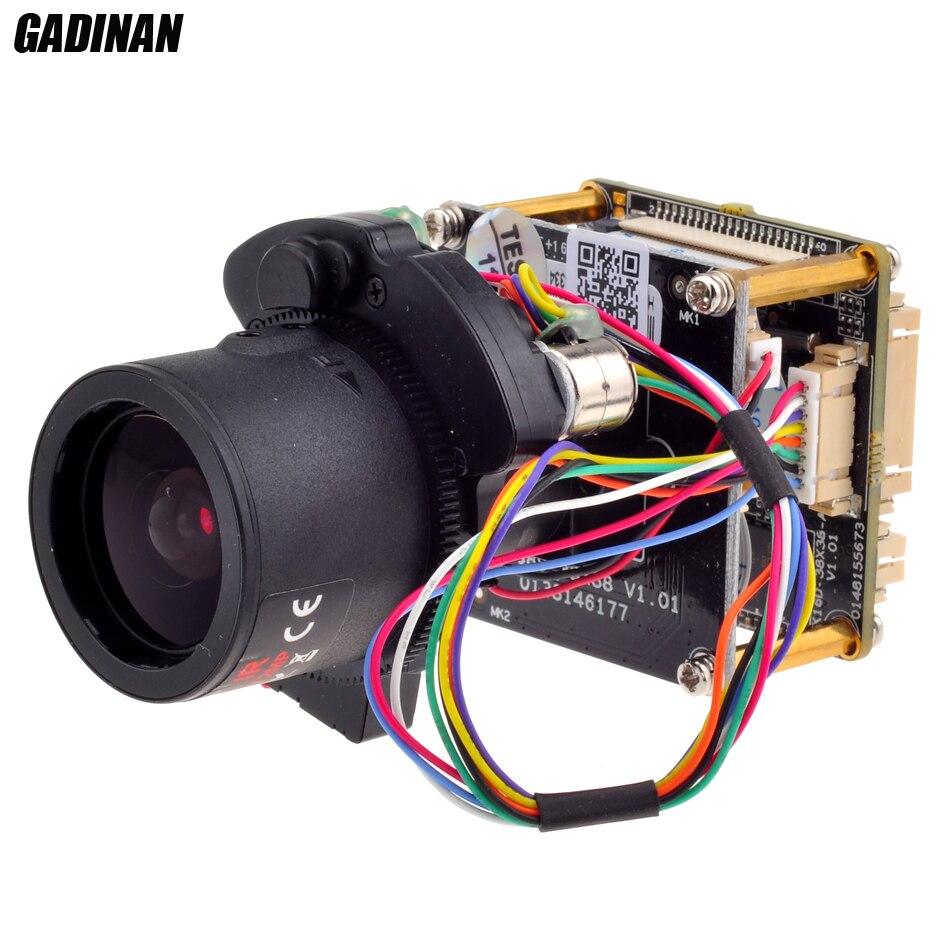 GADINAN 4MP 25FPS 1/3 CMOS OV4689+Hi3516D ONVIF H.265/H.264 2.8 12mm Auto zoom Lens IP Camera Board IPC Module with LAN Cable