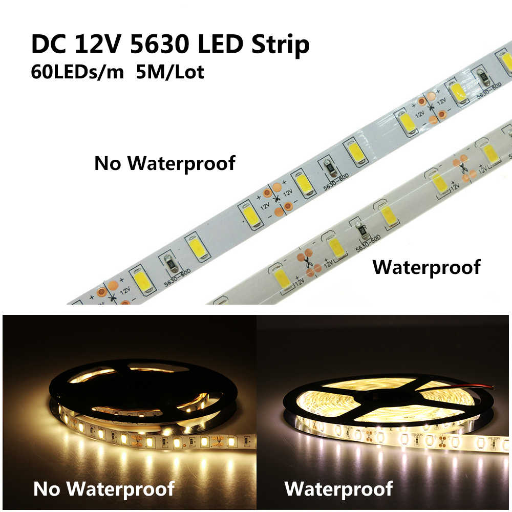 Bande de LED 5630 DC12V 60LED s/M 5 m/lot bande de lumière LED Flexible RGB RGBW LED 5050.