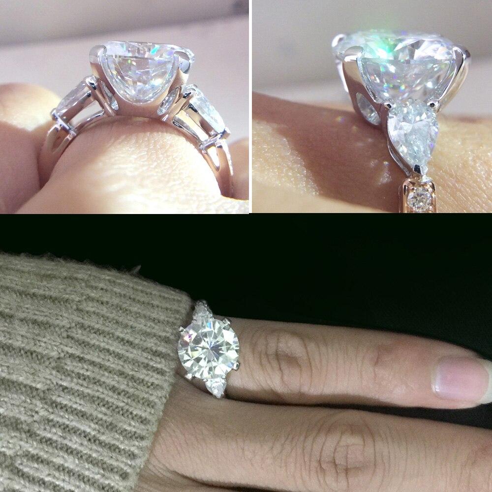 Bague de fiançailles Moissanite ronde 5 à 8 carats DF sans couleur laboratoire diamant Accent poire pierres 14K blanc et or Rose anneaux de mariage - 6