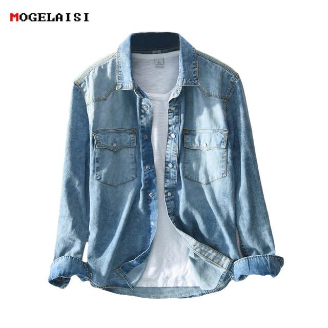 Рубашка мужская джинсовая в стиле сафари, приталенная синяя блуза из денима с карманами, модель 360 в ретро стиле