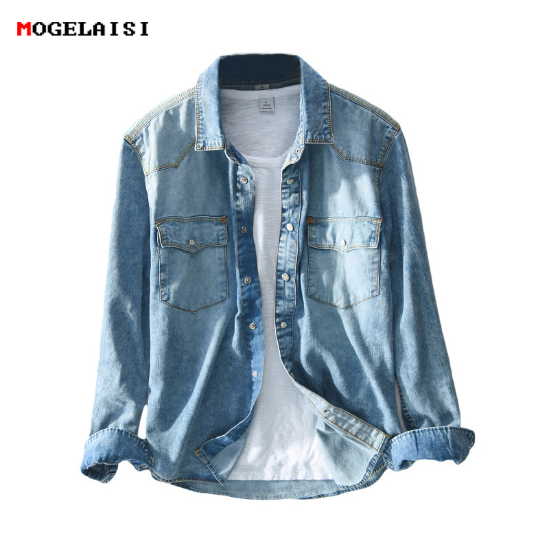 Safari Style Men's Shirts Slim Retro Jeans Blue Shirt For Man Denim Pockets Shirt Male Chemise Homme Camisa Masculina M-3XL 360