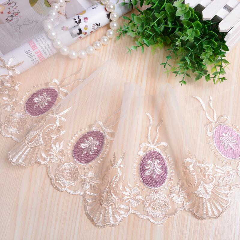26yards lot Trim Diy Handmade Accessories Lace Trim Decoration Mesh Embroidery Lace Fabric 19cm Wide Tecido