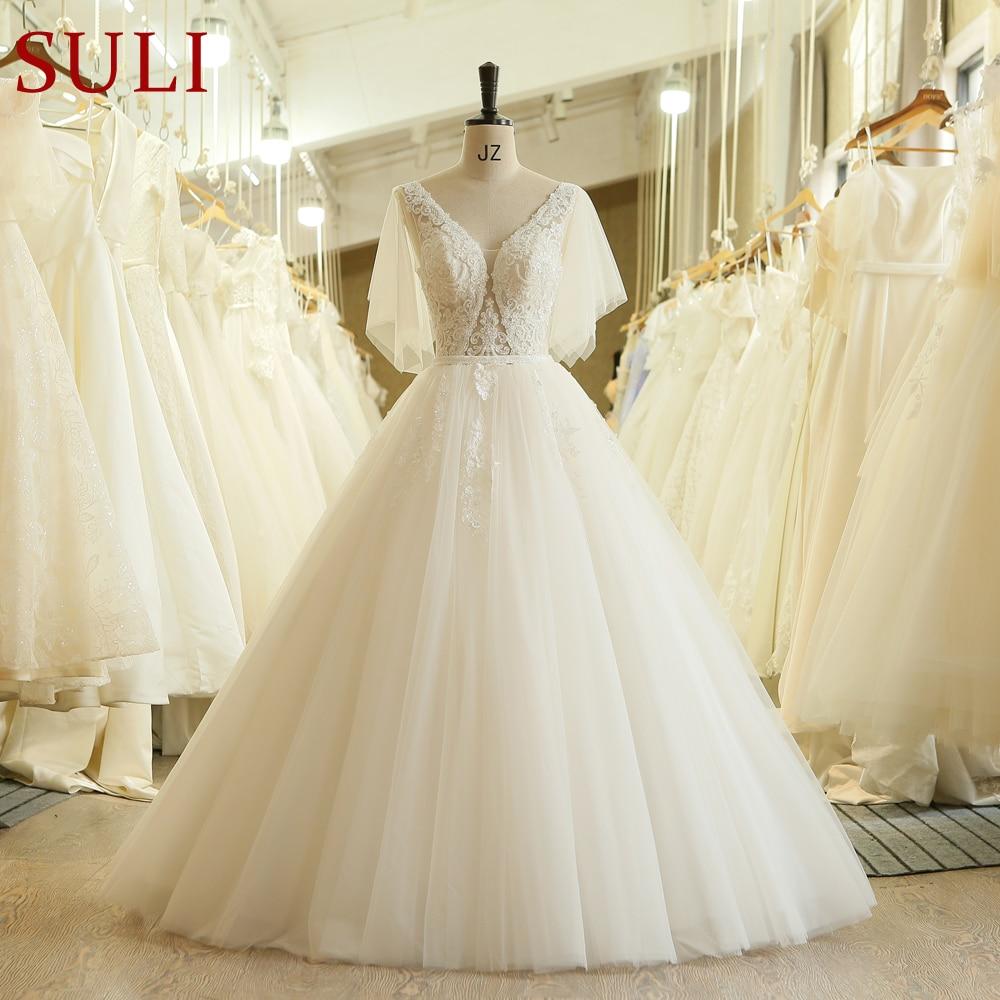 SL 613 Vintage Beads Lace V Neck Crystal Belt Bridal Wedding Dress 2019