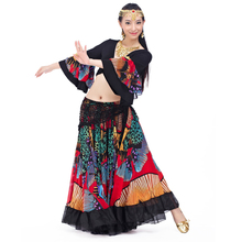 2018 Newest Top grade gypsy belly dance skirt for women big flowers 2 3 m big skirt 720 degrees