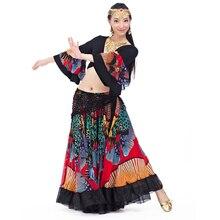 2018 yeni üst sınıf çingene oryantal dans eteği kadınlar için büyük çiçekler 2 3 m büyük etek 720 derece
