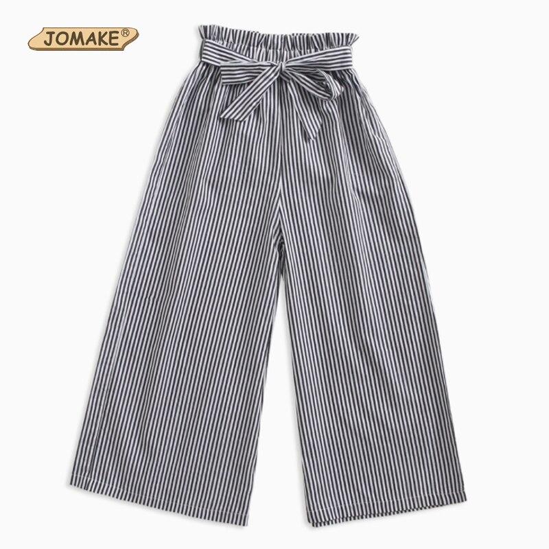 JOMAKE Girls Wide Leg Pants Children Trousers Girls Clothing Spring Autumn 2017 Striped Loose Big Girls Pants 4 6 8 10 12 Years tie waist wide leg striped cami jumpsuit
