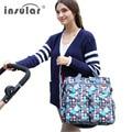 Insular moda multifuncional madre mama nappy bolsas mochila bebé recién nacido conjunto organizador cochecito pañal bolsa de asas para la mamá