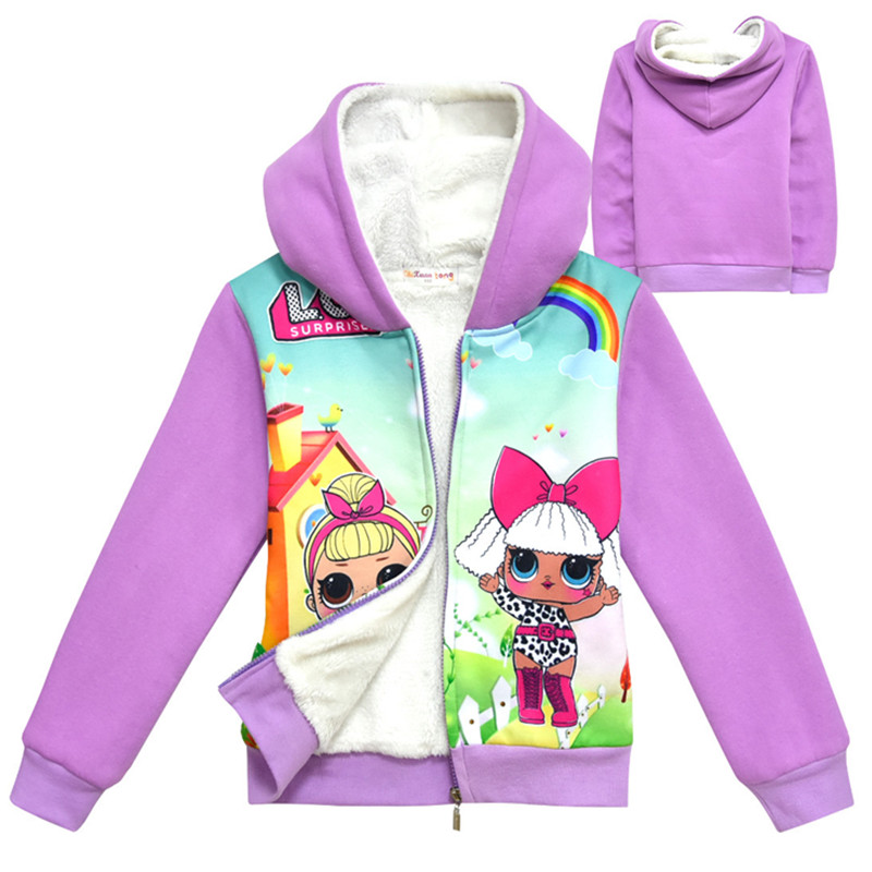 2019 Autumn Girls doll lol Winter Coats For Age 4 12 Hooded Clothes coat Kids Gilrs Jacket Children Outerwear
