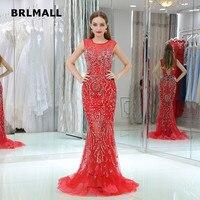 2018 Nowy Backless Prom Dresses Sexy Syrenka Czerwony Tull Kryształ Frezowanie Bez Rękawów Custom Made Suknie Wieczorowe Formalna