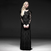 Steampunk Black Gothic Lace Two Piece Long Dress For Women Evening Party Prom Slim Sexy Hollow