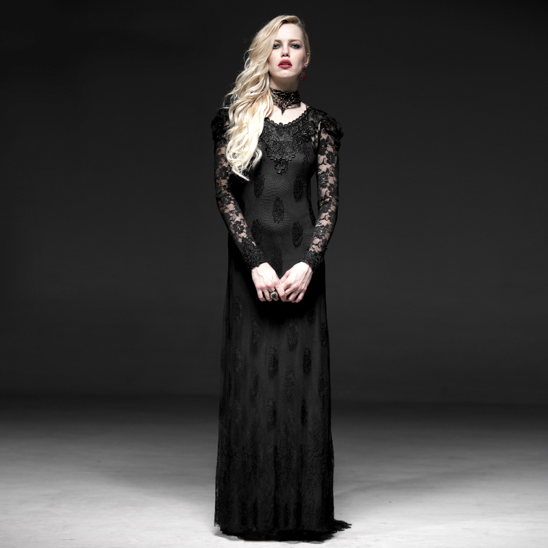 Steampunk Black Gothic Lace Two-Pieces Long Dress for Women Evening Party Prom Slim Sexy Hollow Out Long Dress gothic lace up tiered women s long dress