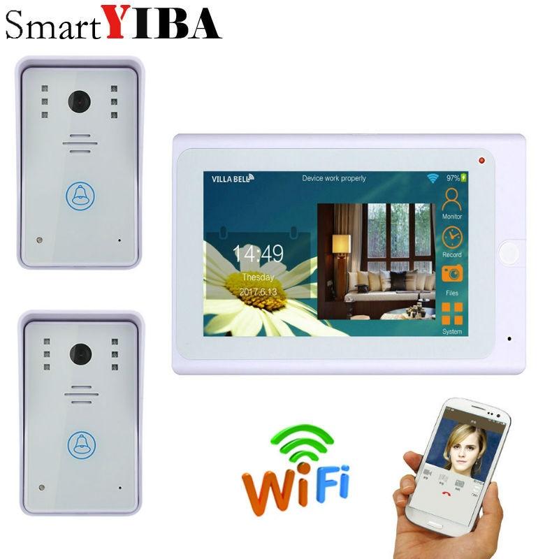 SmartYIBA 7inch White monitor Wired / Wireless Wifi IP Video Door Phone Doorbell Intercom 720P WIFI Doorbell for IOS Android