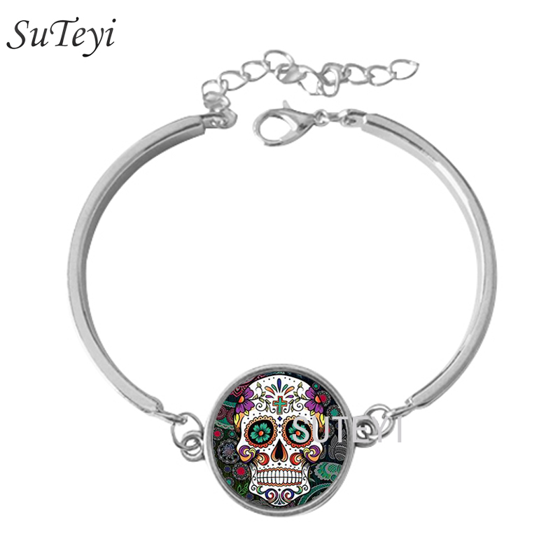 SUTEYI Mode Sucre Crâne, Squelette Verre Dôme Dentelle Charme Bracelets  Crâne Photo Nouveau Design Argent Bracelet de Haute Qualité cdde588f580