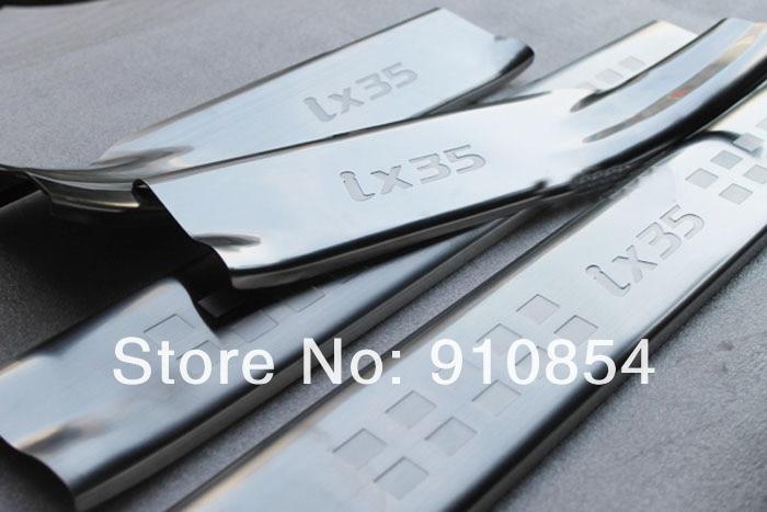 ФОТО High quality stainless steel Inner Door Sill Inside Scuff PlateTrim For 2010-2012 Hyundai Tuson IX35