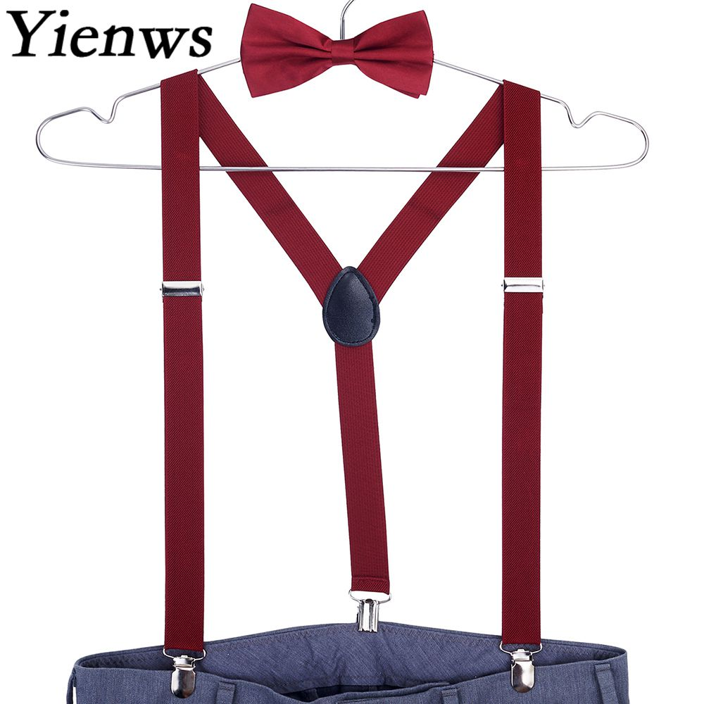 Yienws Burgundy Bow Tie And Suspenders For Men Women Wedding Party Pink Bowtie Braces Red Black Tirantes Mujer Bretels YiA141