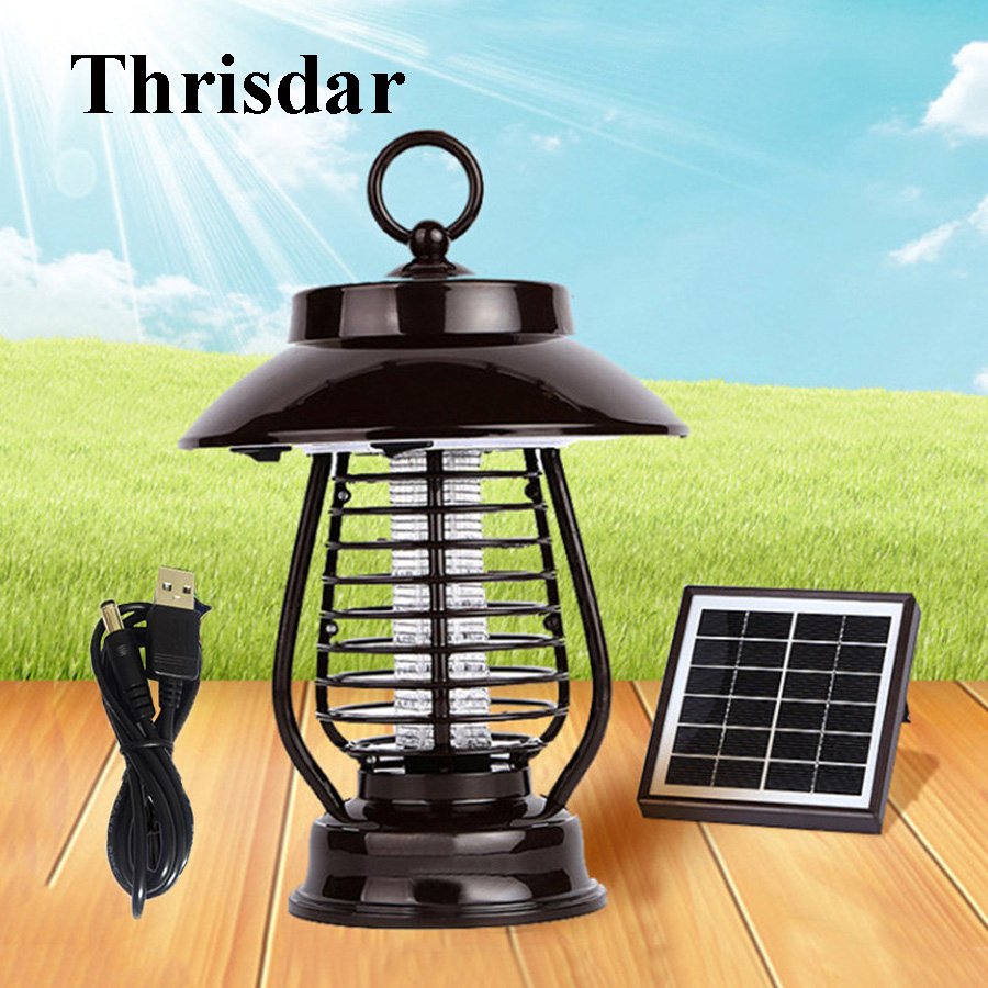 Thrisdar High Effect Solar Mosquito Insect Killer Lamp 5000mAh UV Mosquito Repellent Lamp Outdoor Insect Pest Bug Zapper Killer 2 5w electro magnetic pest mosquito repellent white ac 90 250v