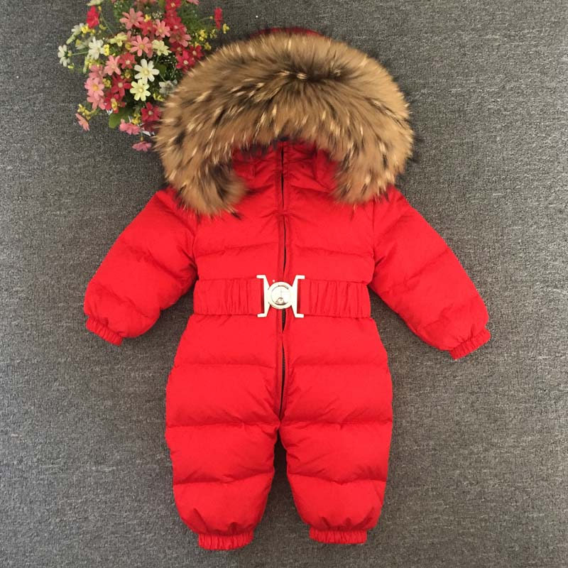 2017 New Children Baby Winter Overalls Snowsuit Jumpsuits Kids Romper Long Sleeve Hooded Duck Down Winter Overalls For Boys Girl 2016 winter boys ski suit set children s snowsuit for baby girl snow overalls ntural fur down jackets trousers clothing sets