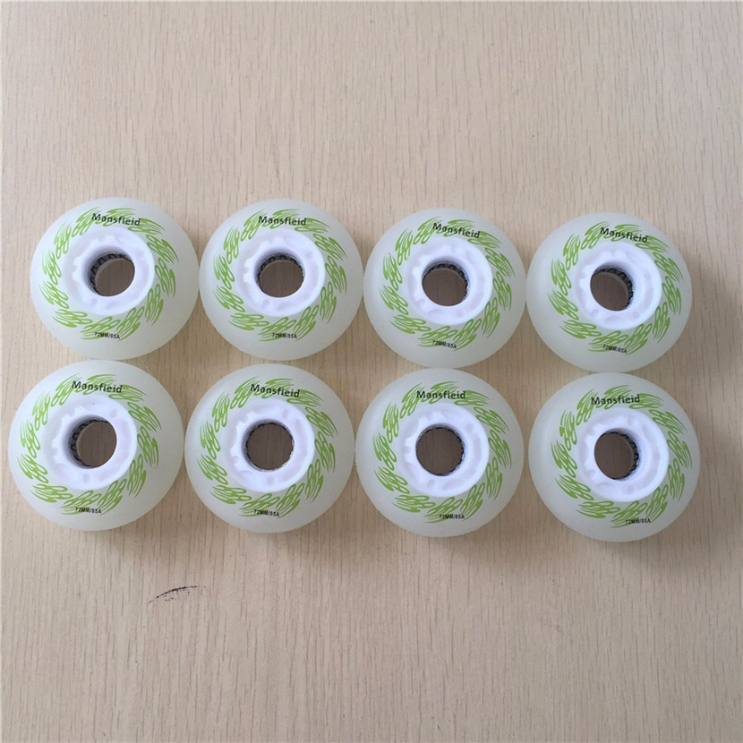 4pcs Roller Skate Color Shine Wheels 85A Hardness Wearing LED Flash Shining Inline Skate Wheels With Magnetic Core & Bearings
