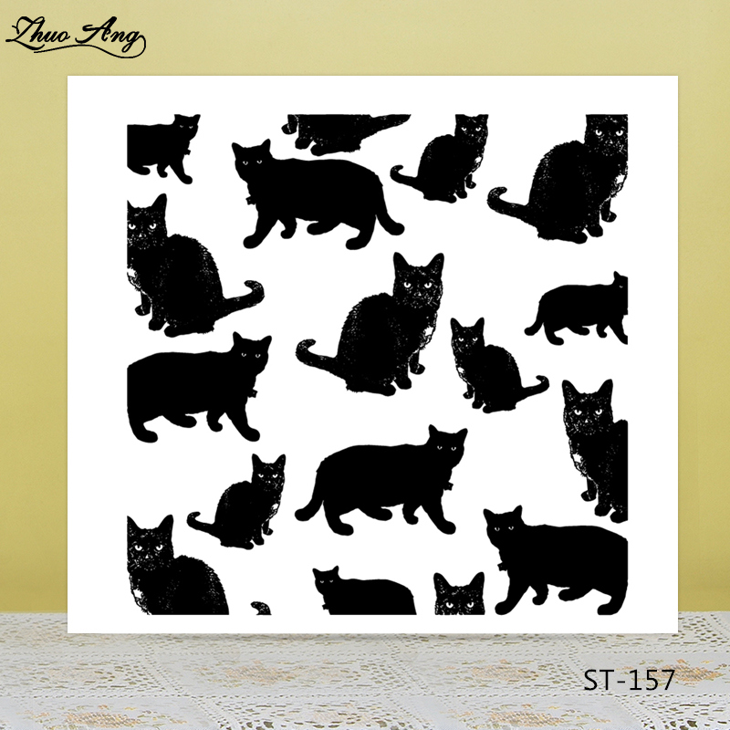 Black cats Transparent silicone Stamp for DIY Scrapbooking/Photo Album Decorative Card Making Clear Stamps Supplies