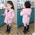 Grils solid pink coat Winter Fur ball hooded Wool Blends Coats Children girls Woolen coat Long warm kids outerwear Children top