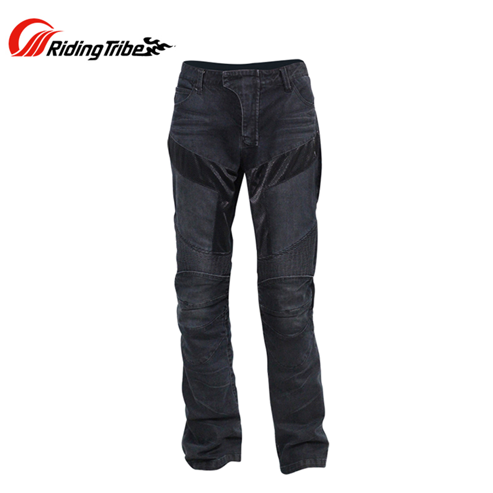 Riding Tribe Motorcycle Racing Jeans Casual Pants Men's Motorbike Motocross Off-Road Knee Protective Moto Jeans Black/blue riding tribe men s motorcycle jeans slim fit protective motocross pants motorbike racing breathable stretch biker pants hp 05