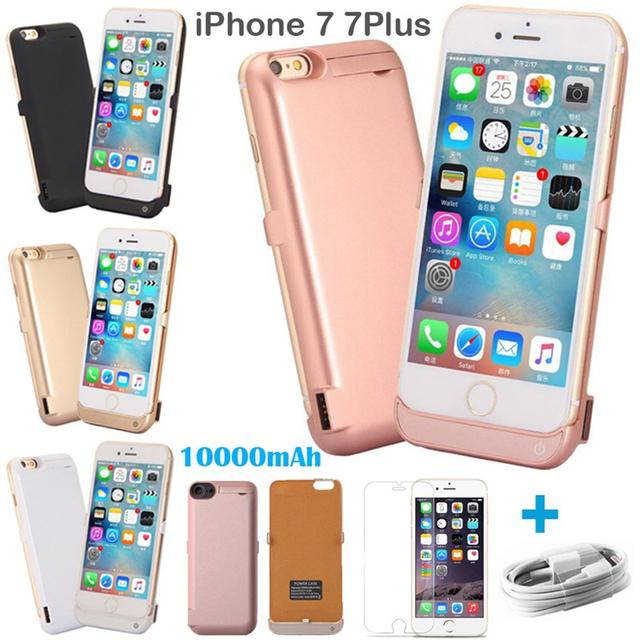 Para ip 7 para apple caja de batería del banco de potencia iphone 7 10000ma gran cargador usb protector de plástico rosa de oro negro