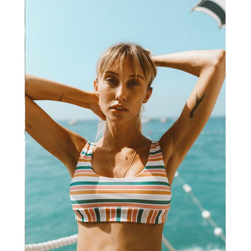 Bikini 2019 Women Rainbow Stripe Bikinis Set Tank Top Two Pieces Swimsuit Casual Female Swimwear Bathing Suit Beach Swim Biquini in Bikinis Set from Sports Entertainment