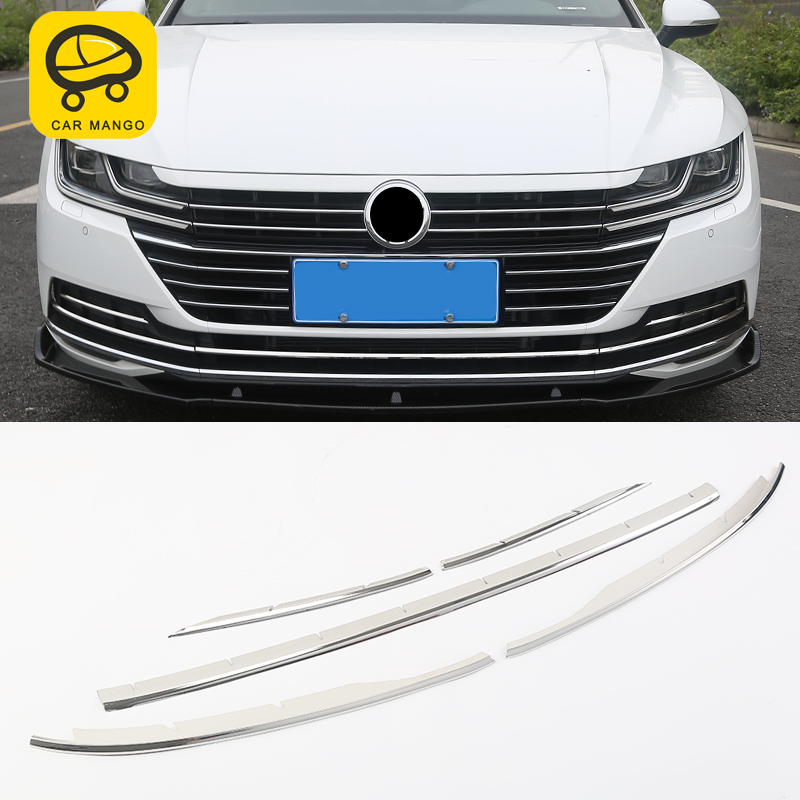 CarMango For Volkswagen Arteon Chrome Font Hood Bonnet Grill Lip Molding Cover Trim Bar Garnish Mesh