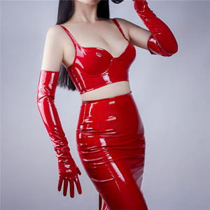 Image 2 - Patent Leather Corset Bright Red Black With A Steel Ring Elastic Bottoming Bustiers Sling Bra PU Imitation Leather VG06