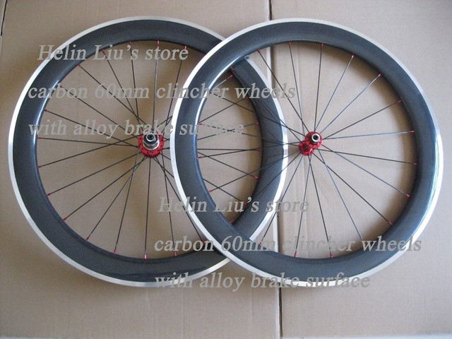 25mm 60mm clincher carbon bike wheels with Alloy brake track