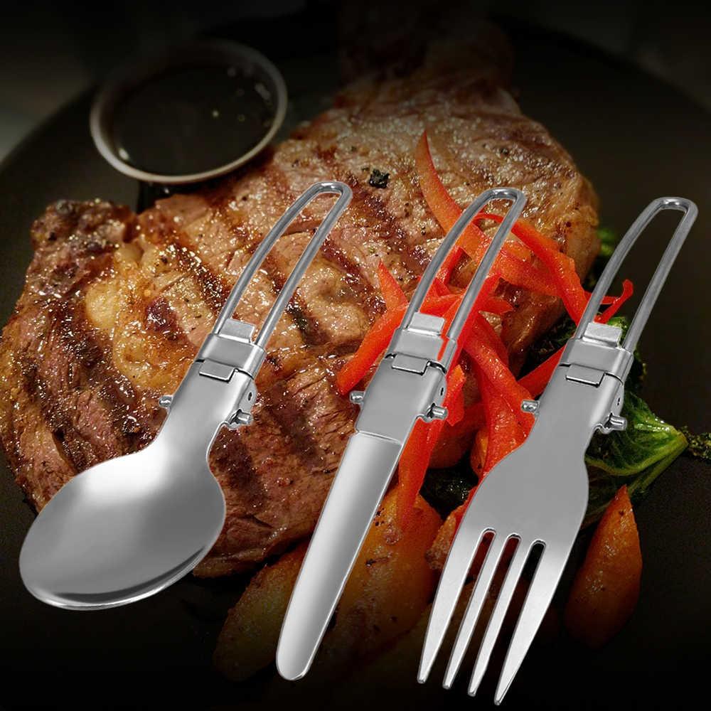 Ourdoor 4 ピース/セットステンレス鋼フォークスプーンナイフ旅行キャンプピクニックカトラリーツールセットポータブルカッター食器調理器具