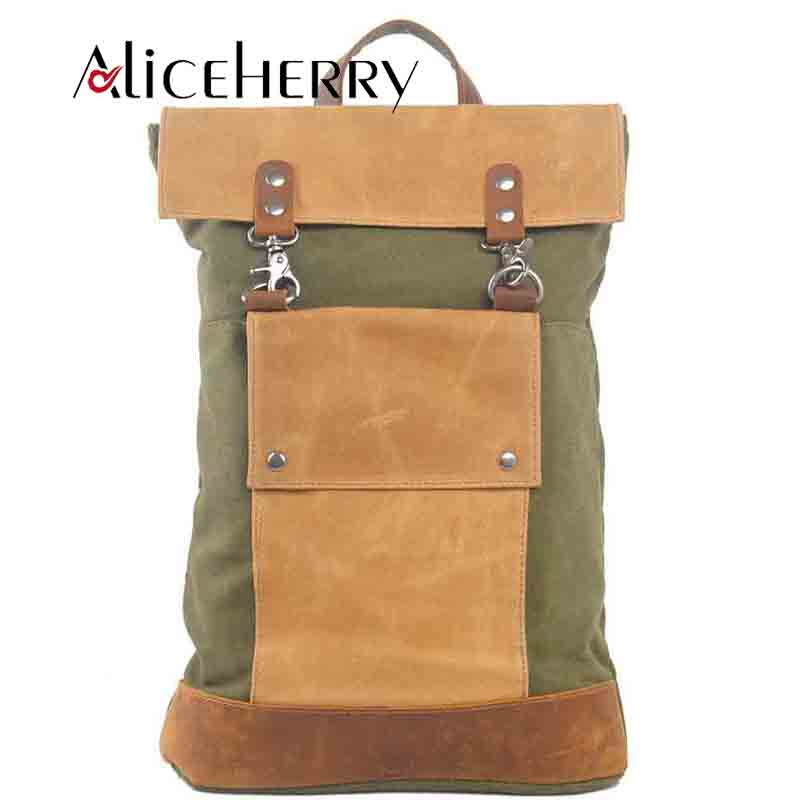 Fashion Men Backpack Vintage Canvas Multifunction Backpack Male Leather School Bag Neutral Portable Travel Bag Army Green Gray army green vintage women