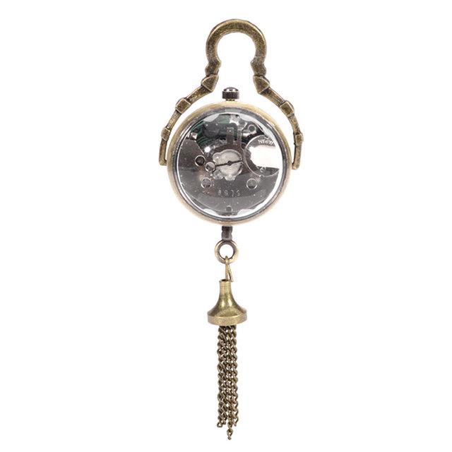Retro Vintage Fish Eye Ball Glass Shape Black Dial Pocket Watch Women Men Steampunk Necklace Pendant Chian reloj de bolsillo