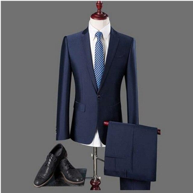 2017 британский стиль Мужские Бизнес моды случайные одной кнопки костюмы/мужской сплошной цвет костюма блейзеры куртка + Штаны брюки комплекты