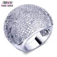 DC1989 New Women S CZ Big Wide Dome Rings 18K Real Gold Platinum Plated Environmental Friendly