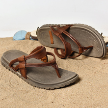 Beach Water Shoes Men Brand Flip Flops Genuine Leather Mens Sandals Wedding Fashionable Sandles