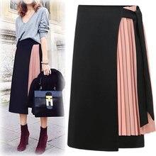 997f8118ba0d Yibaka Women 2018 European Style Elegant Pleated High Waist Side Zipper  Chiffon Skirt Fashion Casual Patchwork A-line Long Skirt