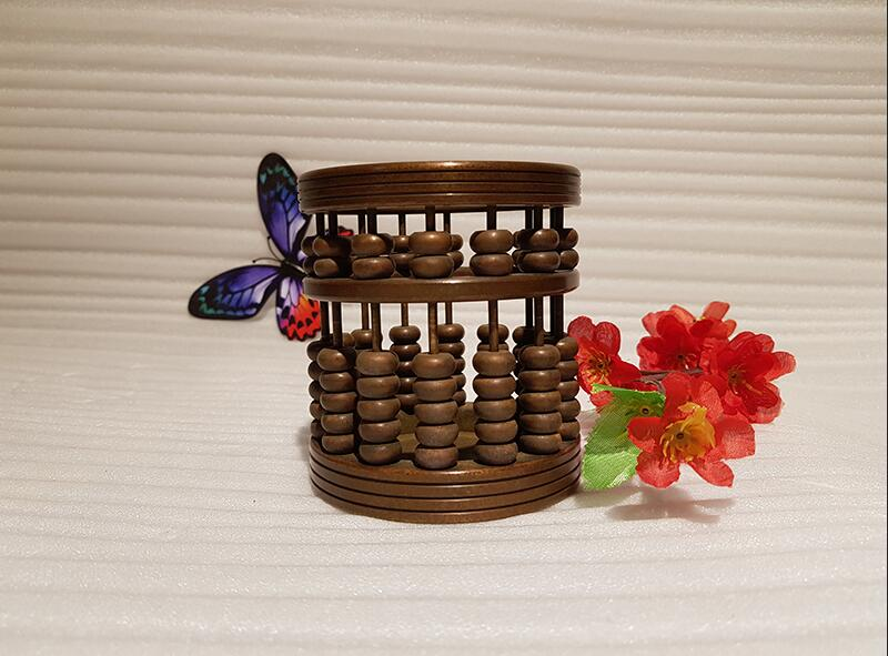 Chinese style vintage bronze brass abacus pen holder handmade ancient craft (1)