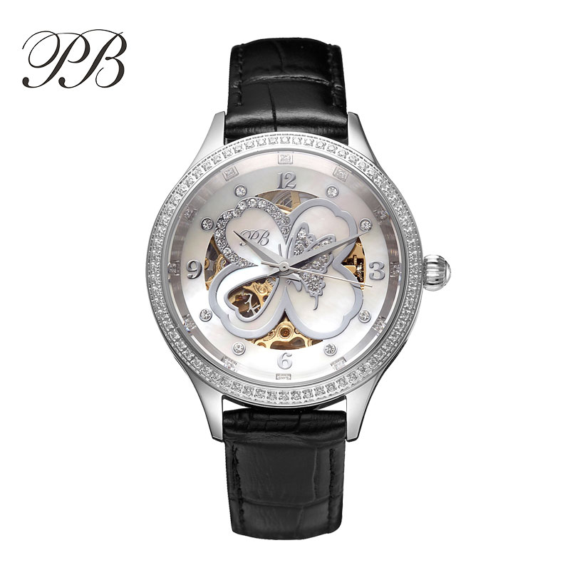Luxury Brand PB Luxury Wristwatch Unisex Rose Gold Clover Hub Waterproof Automatic Self-wind Mechanical Watch reloj mujer HL598 reloj mujer skeleton women watch luxury brand sollen lucky clover girl automatic mechanical ladies dress watches rose gold gift