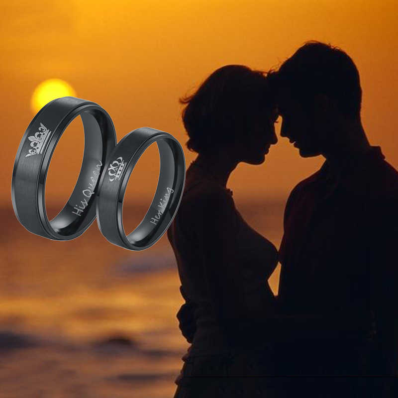 ELSEMODE 1 יחידות 2018 חדש אופנה DIY זוג תכשיטי שלה מלך שלו מלכת נירוסטה חתונה לנשים גברים תכשיטים